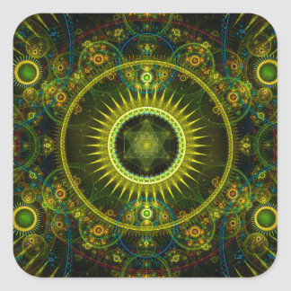 """Metatron's Magick Wheel"" - Fractal Art Square Sticker"
