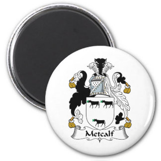 Metcalf Family Crest 2 Inch Round Magnet