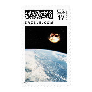 Meteor Nearing Earth Postage Stamp