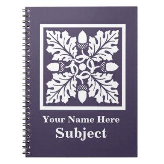 Meteor Purple Acorn and Leaf Tile Design Spiral Notebook