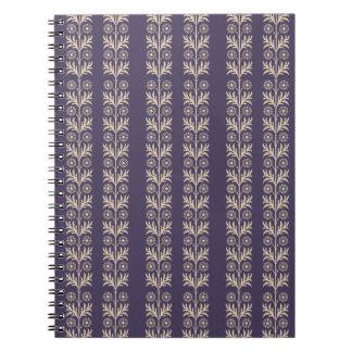 Meteorite Purple Arts and Crafts Floral Stripe Notebook