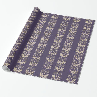 Meteorite Purple Arts and Crafts Floral Stripe Wrapping Paper