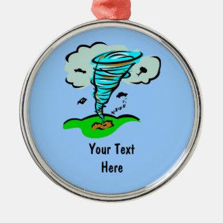 Meteorología del tiempo del tornado del tornado adorno redondo plateado