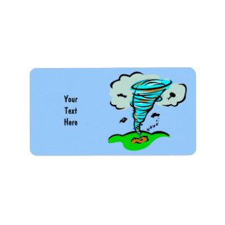 Meteorología del tiempo del tornado del tornado etiqueta de dirección