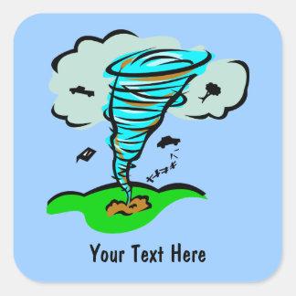 Meteorología del tiempo del tornado del tornado pegatina cuadrada