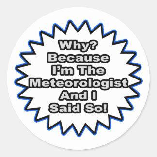 Meteorologist...Because I Said So Classic Round Sticker