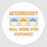 Meteorologist ... Will Work For Cupcakes Round Stickers