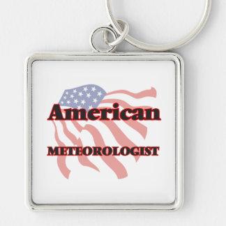Meteorólogo americano llavero cuadrado plateado