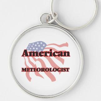 Meteorólogo americano llavero redondo plateado