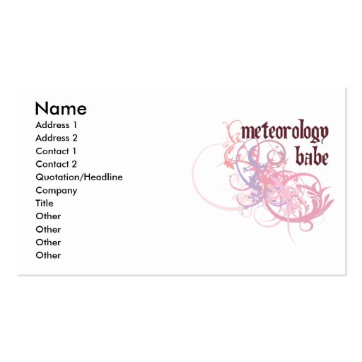 Meteorology Babe Business Cards