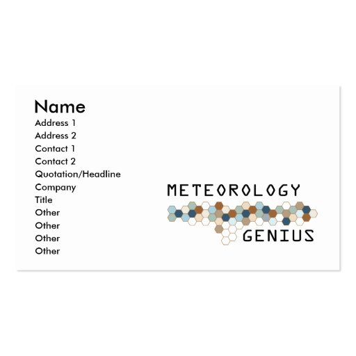 Meteorology Genius Double-Sided Standard Business Cards (Pack Of 100)