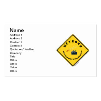 Meteors A Major Hazard To Life On Earth (Sign) Double-Sided Standard Business Cards (Pack Of 100)