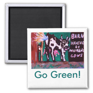 Methane Cows, Go Green! 2 Inch Square Magnet