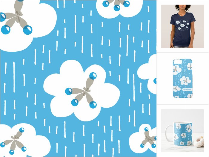 Zazzle collection with a pattern of rain clouds and methane molecules