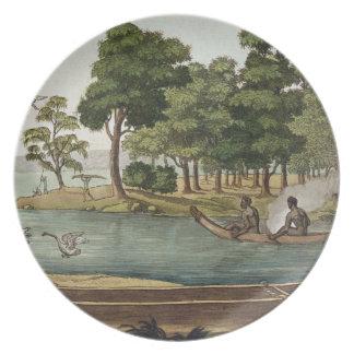 Método de navegación en nueva Holanda, grabado por Platos De Comidas