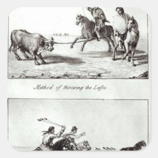 Métodos de lanzar el lazo y las boleadoras pegatina cuadrada