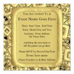 Metralla de oro invitación 13,3 cm x 13,3cm
