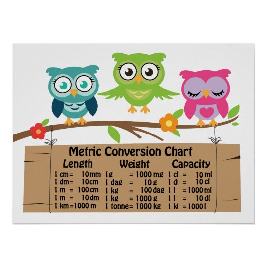 Metric Conversion Chart For Kids Zazzle