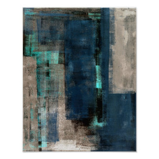 'Metro' Blue Abstract Art Painting Poster