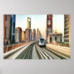 Metro de Dubai y la ciudad Poster