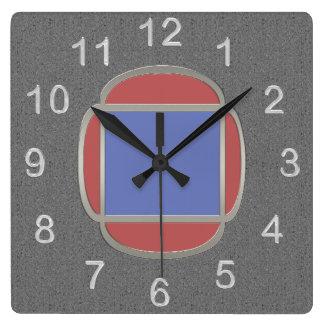 Metro del art déco - rojo azul gris reloj cuadrado