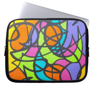 Metro Moon - Abstract Art Hand Painted Laptop Sleeve