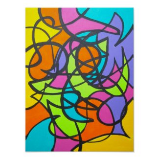 Metro Moon-Abstract Art Handpainted
