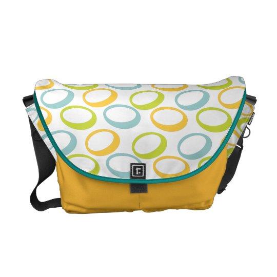 Metro Retro Oval Pattern on White Messenger Bag