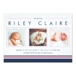 Metro Stripe Birth Announcement   Pink and Navy
