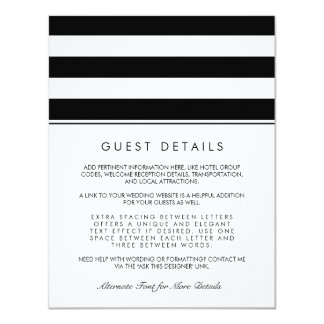 Metro Stripe Guest Information Card | Black