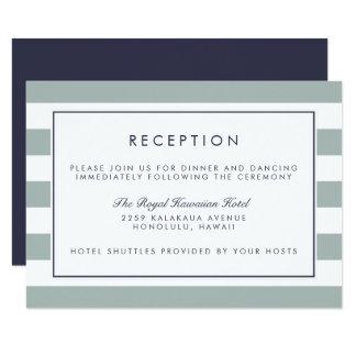 Metro Stripe Reception Card   Grayed Jade