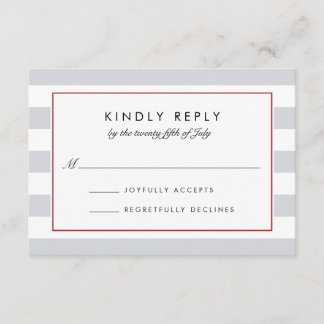 Metro Stripe RSVP Card | Cranberry