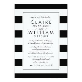 Metro Stripe Wedding Invitation | Black and White