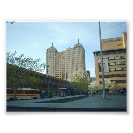 Metro Train and Liberty Building in Buffalo NY Photo Print