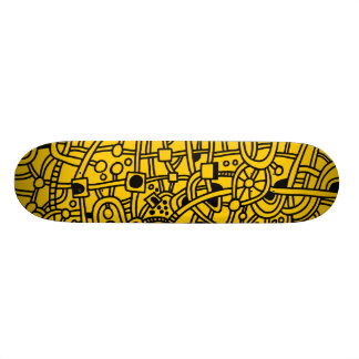 Metropolis II - Black on Amber Skateboard Decks