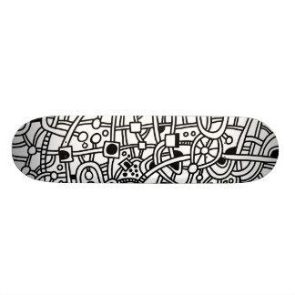 Metropolis II - Black on White Skateboard Deck