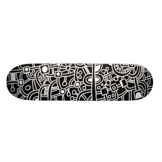 Metropolis III - White on Black Skateboard Deck