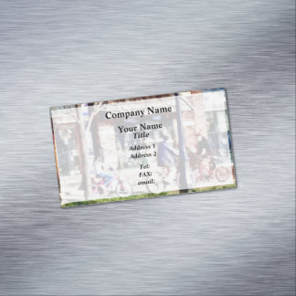 Metuchen NJ - Bicyclists on Main Street Magnetic Business Card