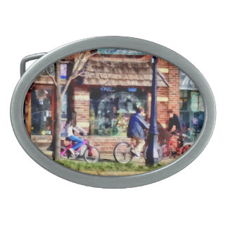 Metuchen NJ - Bicyclists on Main Street Oval Belt Buckle