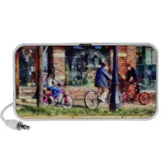 Metuchen NJ - Bicyclists on Main Street Portable Speaker