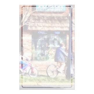 Metuchen NJ - Bicyclists on Main Street Stationery