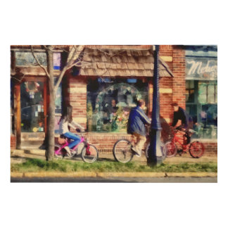 Metuchen NJ - Bicyclists on Main Street Wood Wall Art