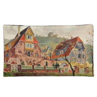 Metzendorf Watercolor German Architecture Vintage Cosmetics Bags