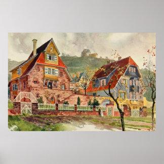 Metzendorf Watercolor German Architecture Vintage Poster