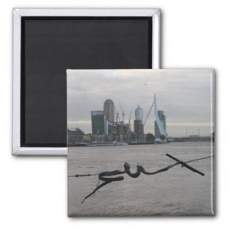 Meuse river, Rotterdam 2 Inch Square Magnet