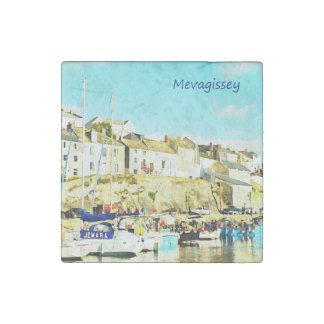 Mevagissey Cornwall England Watercolor Stone Magnet