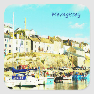 Mevagissey Cornwall England Watercolor Square Sticker