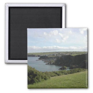 Mevagissey. Cornwall. Scenic coastal view. 2 Inch Square Magnet