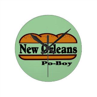 Mew Orleans Po Boy Round Clock