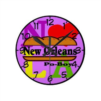 Mew Orleans Po Boy Sandwich Round Clock